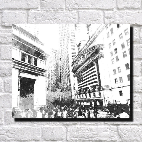New York Wall Street City Skyline Print Feature Wall Art Landscape Poster