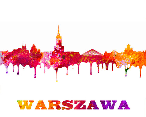 Warsaw City Skyline Print Wall Art Poster Poland - OnTrendAndFab