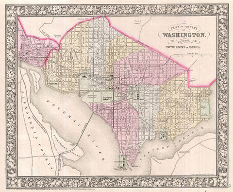 Washington DC City Street Map Print Vintage Poster Old Map as Art - OnTrendAndFab