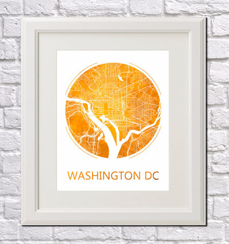 Washington D.C. City Street Map Custom Wall Map Poster