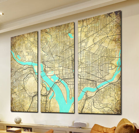 Washington DC Street Map 3 Panel Canvas