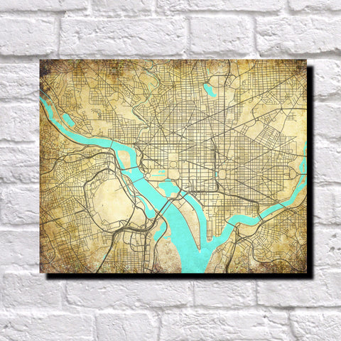 Washington DC City Street Map Custom Wall Map Print