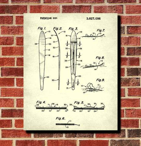 Water Ski Patent Print Art Water Skiing Sports Poster