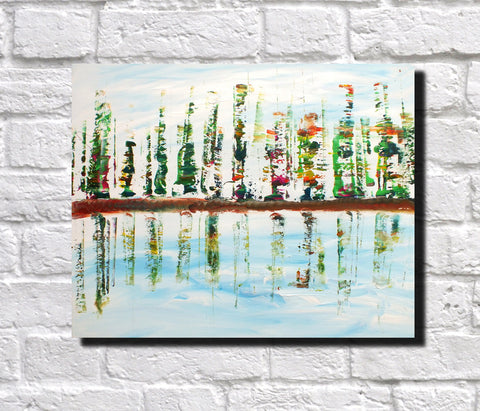 Original Painting James Lucas, Waterfront Urban Abstract