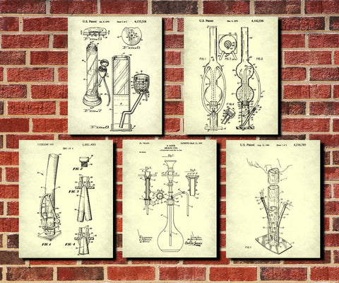 Water Pipe Patent Prints Set 5 Cannabis Bong Posters