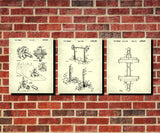 Weight Lifting Patent Prints Set 3 Fitness Blueprint Posters