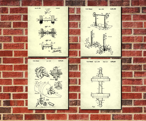Weight Lifting Patent Prints Set 4 Fitness Blueprint Posters