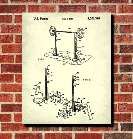 Weight Lifting Patent Print Poster Barbell Stand Blueprint