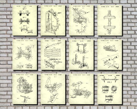 Weight Lifting Patent Prints Set 12 Gym Fitness Posters