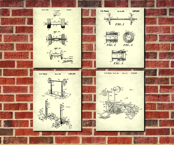 Weight Lifting Patent Prints Set 4 Fitness Gym Posters