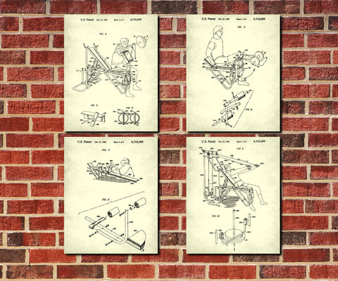 Weight Lifting Patent Prints Set 4 Gym Fitness Posters