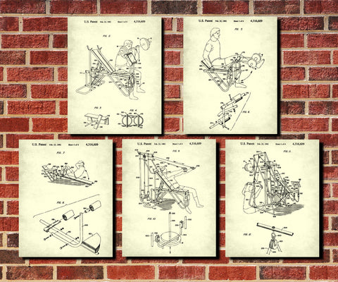 Weight Lifting Patent Prints Set 5 Gym Fitness Posters