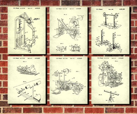 Weight Lifting Patent Prints Set 6 Gym Fitness Posters
