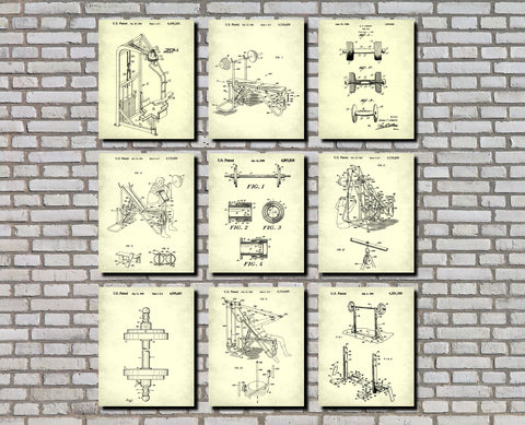 Weight Lifting Patent Prints Set 9 Gym Fitness Posters