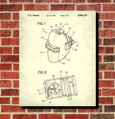 Welding Patent Print Welders Helmet Blueprint Workshop Poster