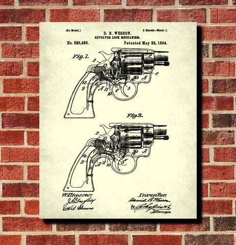 Wesson Revolver Patent Print Handgun Blueprint Shooting Poster