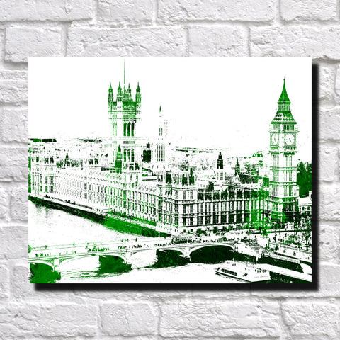Westminster Parliament London City Skyline Print Landscape Poster Feature Wall Art