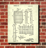 Whiskey Barrel Patent Print Bar Wall Art Pub Poster