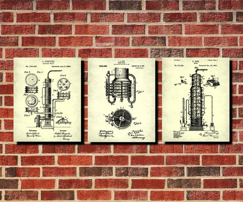 Whiskey Patent Prints Set 3 Bar Wall Art Cafe Posters