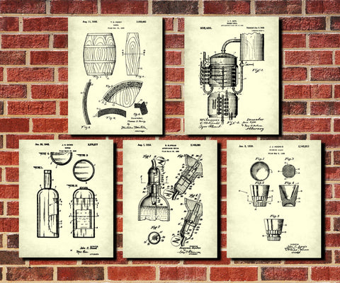 Whiskey Patent Prints Set 5 Cafe Posters Bar Wall Art