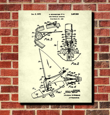 Windsurfer Patent Print Nautical Art Windsurfing Poster