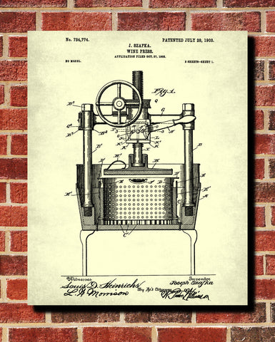 Wine Press Patent Print Cafe Poster Bar Art - OnTrendAndFab