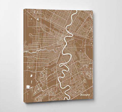 Winnipeg Street Map Print Feature Wall Art Poster