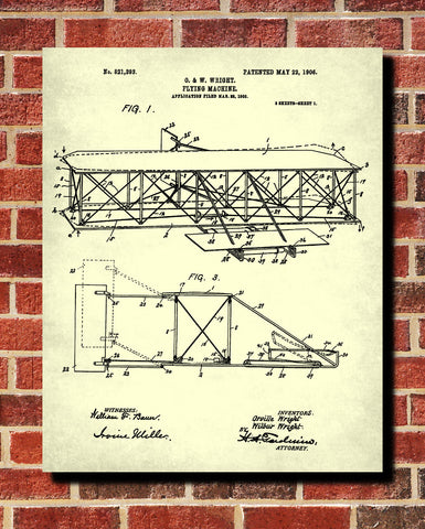 Wright Brothers Blueprint Aircraft Patent Print Flying Poster - OnTrendAndFab