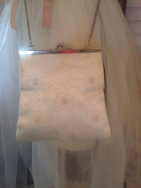 """Special Occasion"" White Beaded Purse"