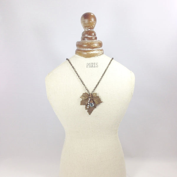 Brass Leaf with Trinkets Necklace