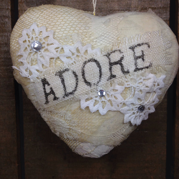 """Adore"" Heart with Rick-Rack details"