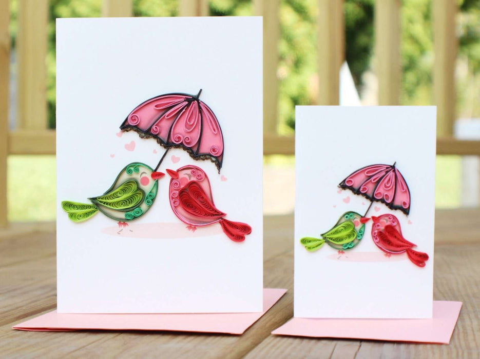 Birds & Umbrella (Mini) Quilling Card - UViet Store