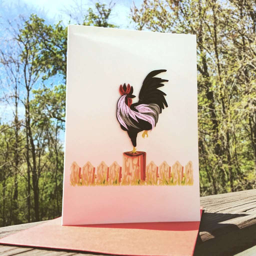 Rooster on the Fence Quilling Card - UViet Store