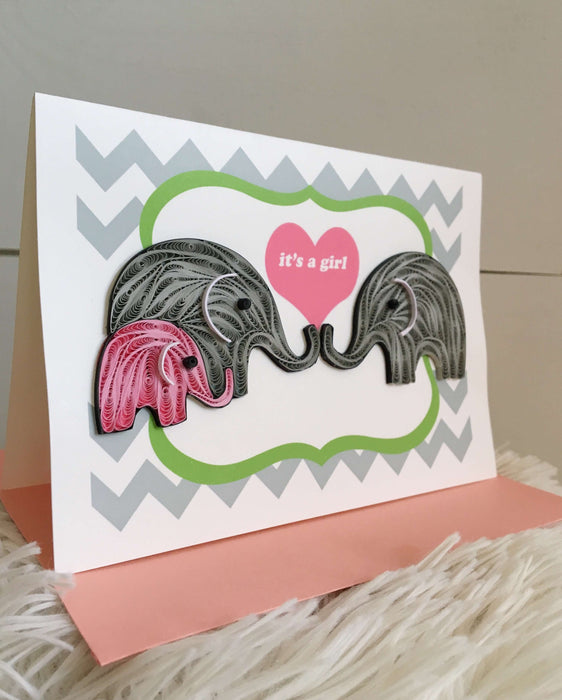 It's a Girl Elephant Quilling Card - UViet Store
