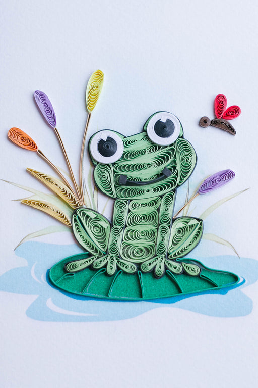 Frog on Lily Pad Quilling Card - UViet Store