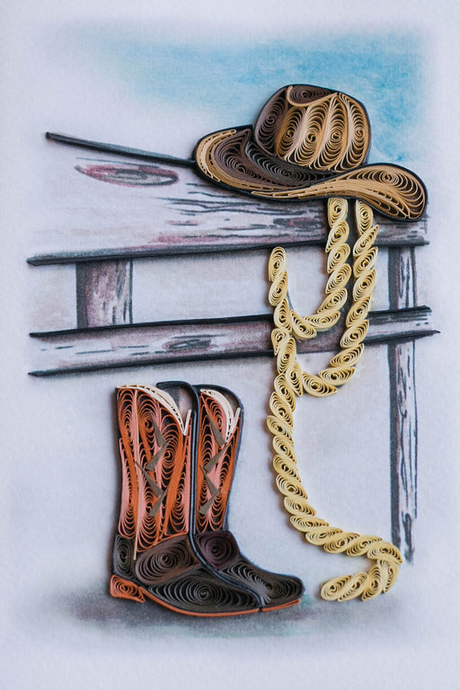 Cowboy Boots & Hat Quilling Card - UViet Store