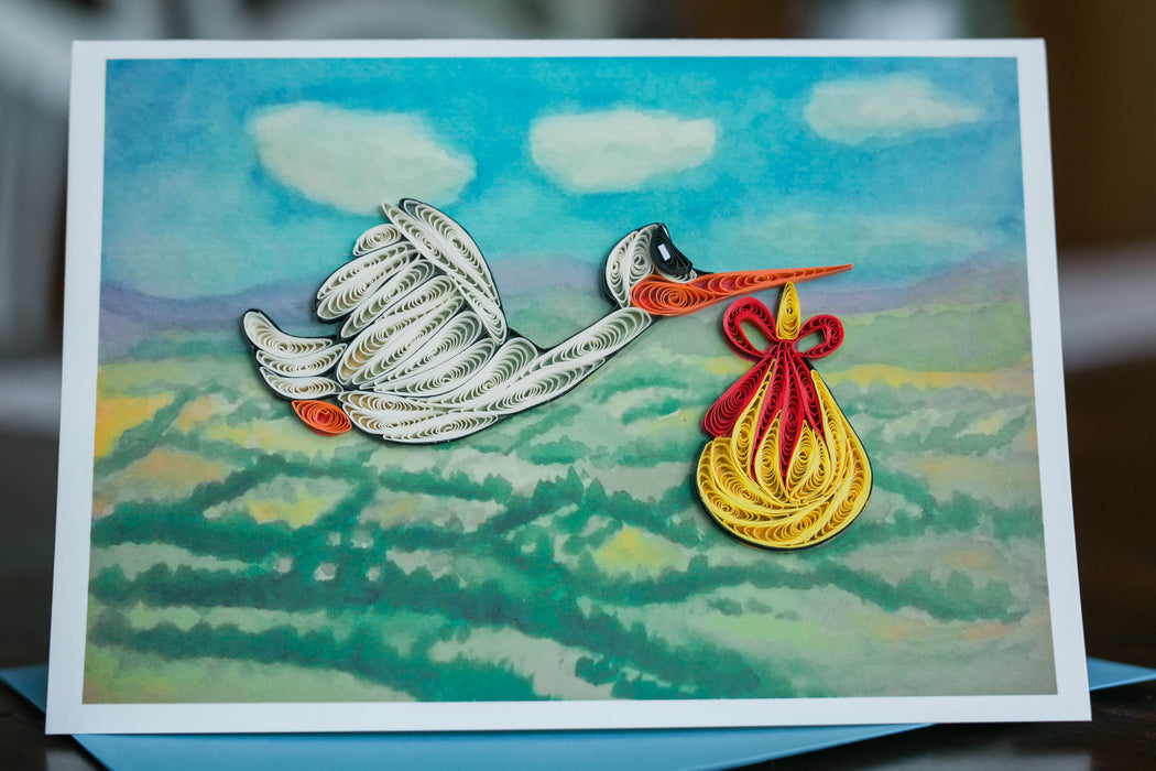 Special Delivery Stork Quilling Card - UViet Store