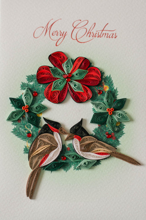 Christmas Wreath & Cardinals Quilling Card - UViet Store