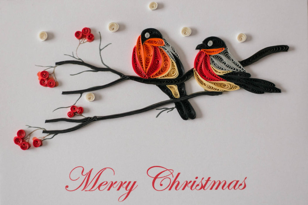 Merry Christmas Birds Quilling Card - UViet Store