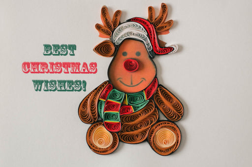 Merry Christmas Reindeer Quilling Card - UViet Store