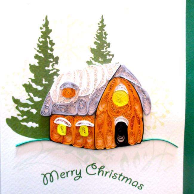 Christmas Cottage- (4 cards/ pkg.) Quilling Card - UViet Store