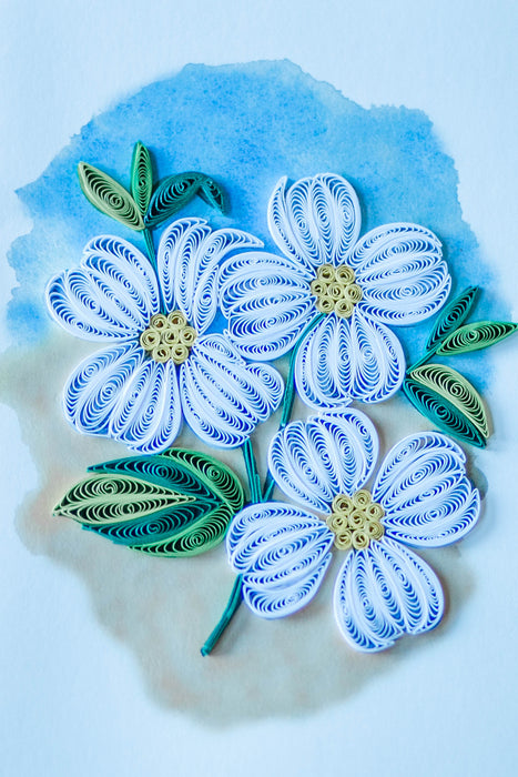 Dogwood Blossoms (Mini) Quilling Card - UViet Store