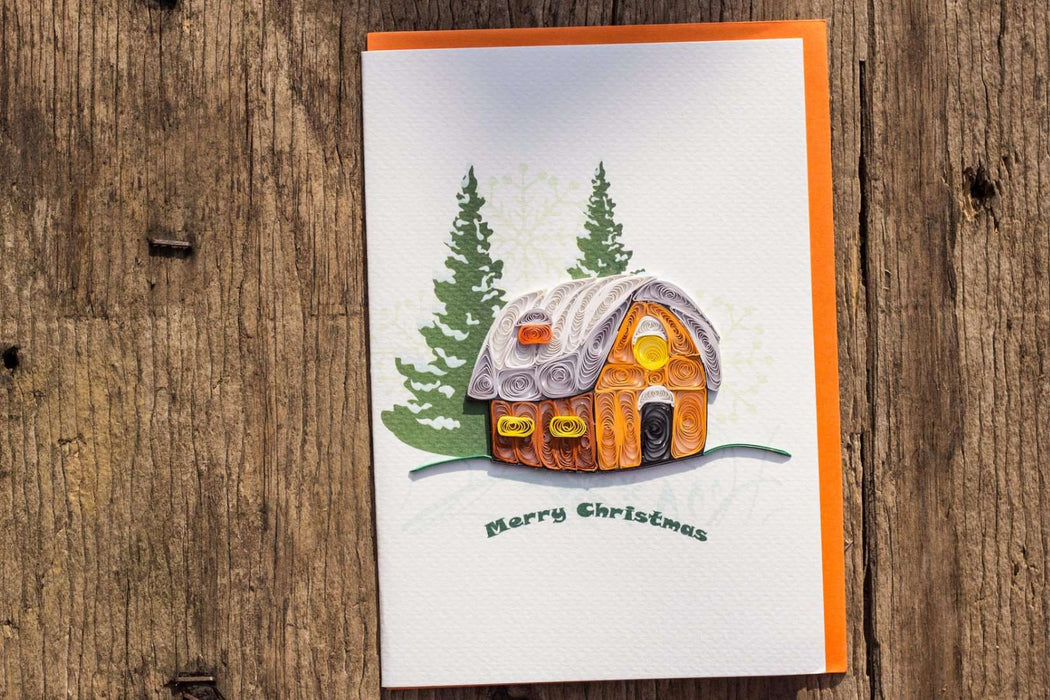 Christmas Cottage- (4 cards/ pkg.)