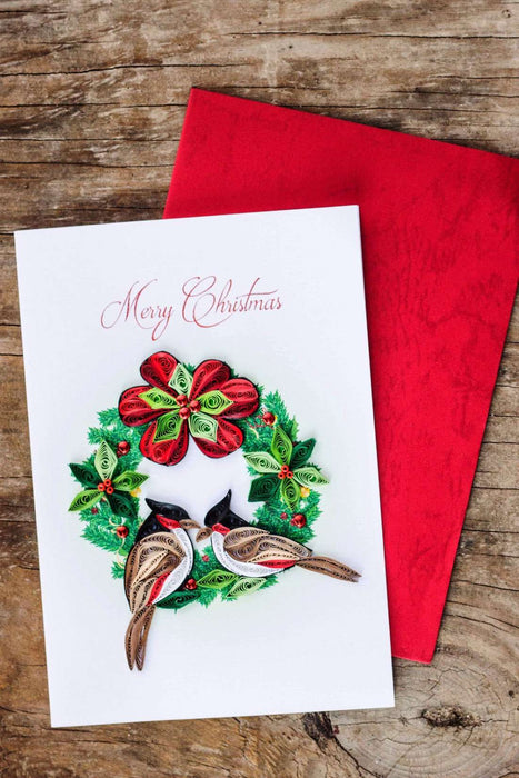 Christmas Wreath & Cardinals (4 cards/pkg.) Quilling Card - UViet Store