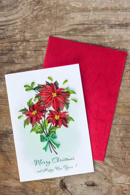 Poinsettia (4 cards/pkg.) Quilling Card - UViet Store