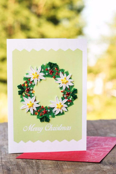Christmas Wreath (4 cards/pkg.) Quilling Card - UViet Store
