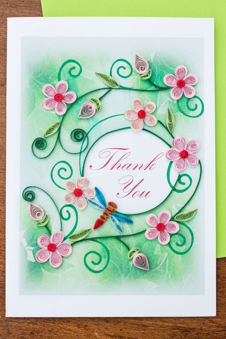 Thank You - Pink Flowers with Dragonfly Quilling Card - UViet Store