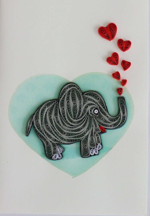 Elephant with Hearts Quilling Card - UViet Store