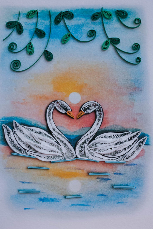 Love Swans Quilling Card - UViet Store
