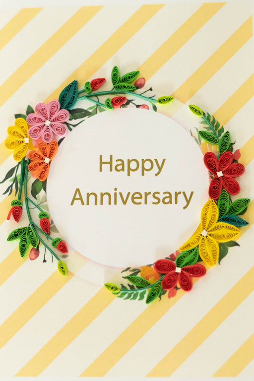 Happy Anniversary - Floral Ring Quilling Card - UViet Store